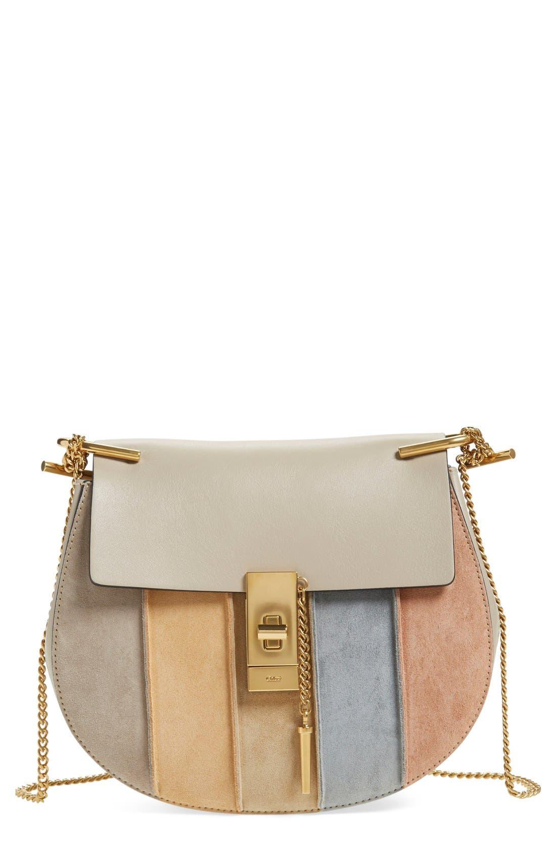 Main Image - Chloé 'Small Drew' Suede Stripe Shoulder Bag
