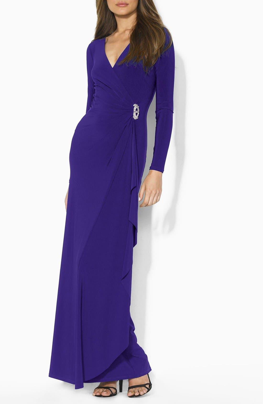 Main Image - Lauren Ralph Lauren Embellished Jersey Faux Wrap Gown (Regular & Petite)