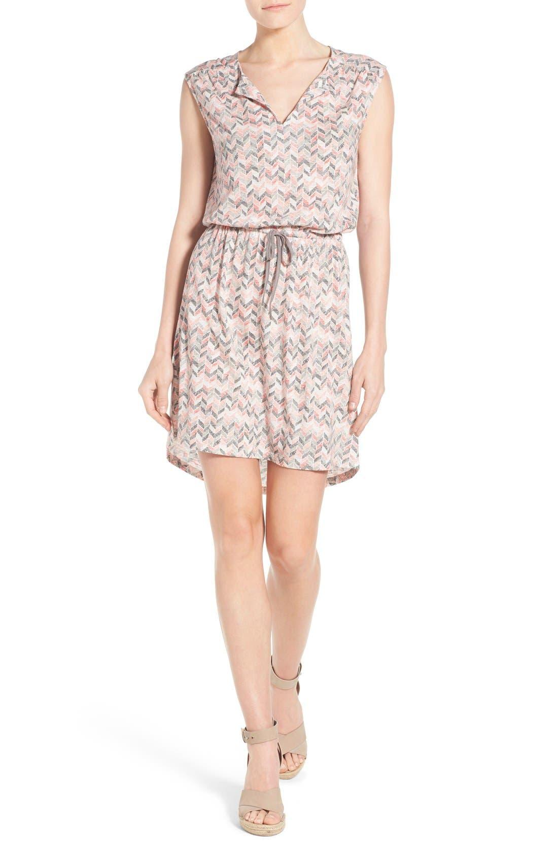 Main Image - Caslon® Split Neck Cotton & Modal Knit Blouson Dress (Regular & Petite)