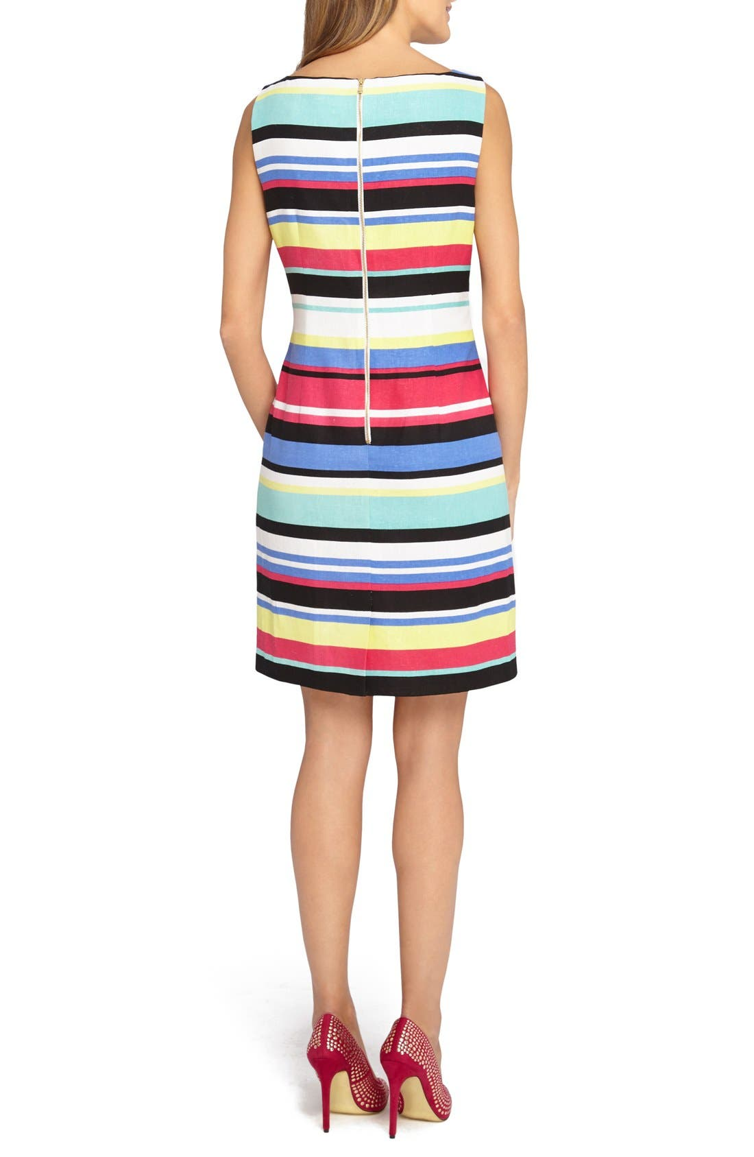 Alternate Image 2  - Tahari Stripe Linen Blend Sheath Dress (Regular & Petite)