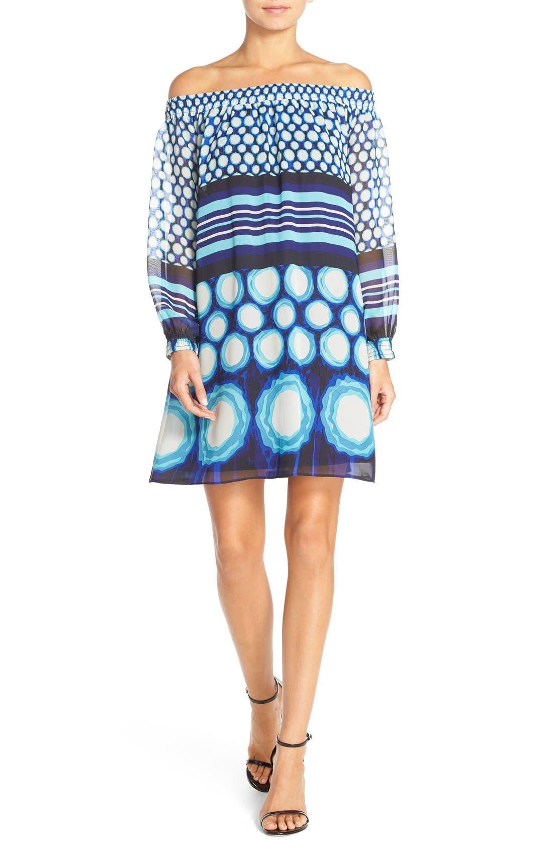 Alternate Image 1 Selected - ECI Off the Shoulder Print Chiffon Trapeze Dress