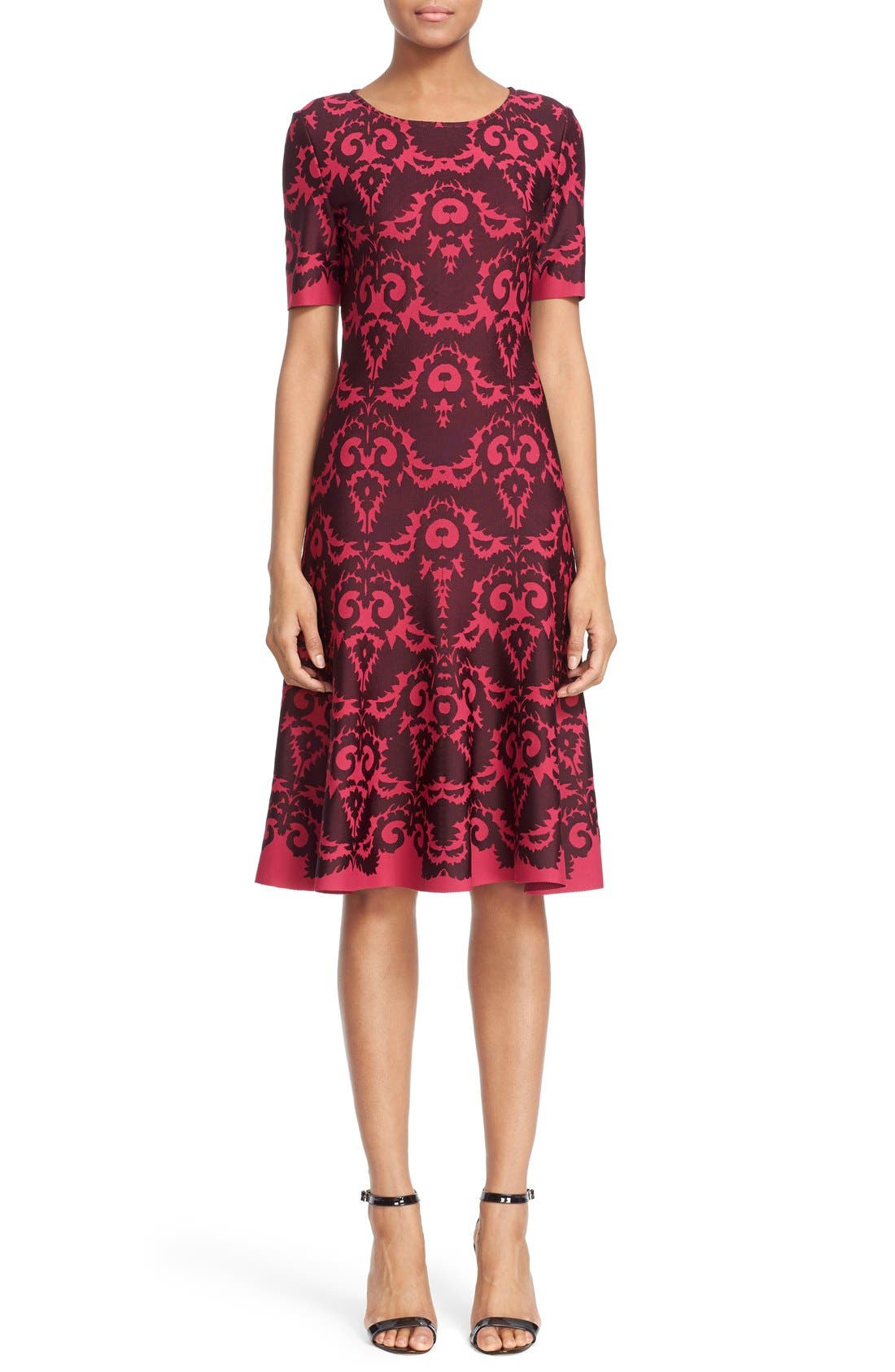 Alternate Image 1  - St. John Collection Intarsia Knit Elbow Sleeve Fit & Flare Dress