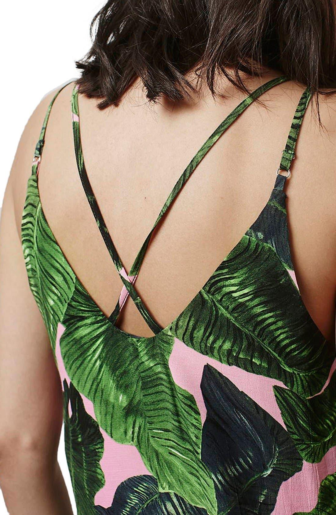 Alternate Image 5  - Topshop Palm Print Cross Back Slipdress