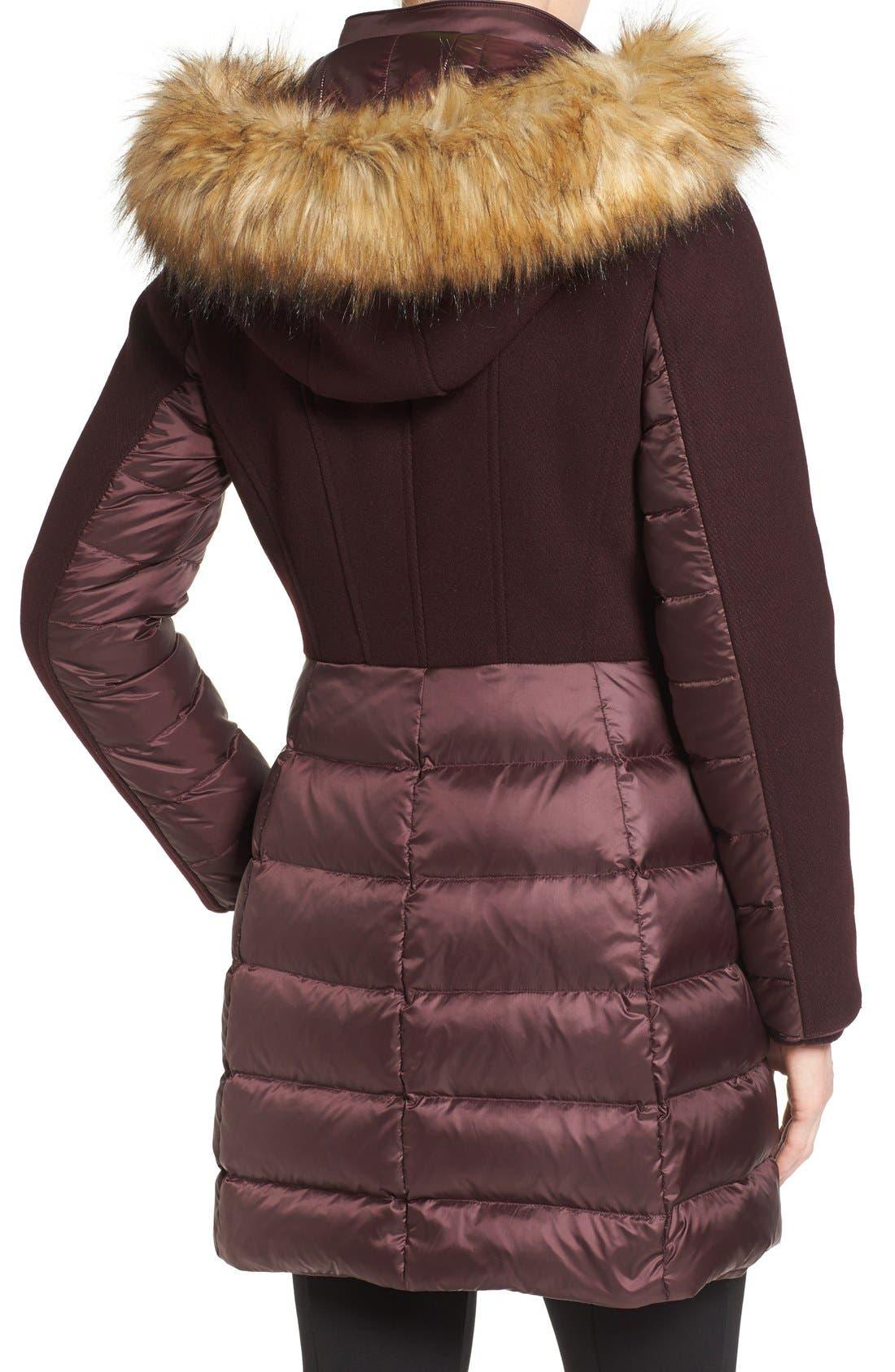 Alternate Image 2  - 1 Madison Mixed Media Faux Fur Trim Hooded Down Coat