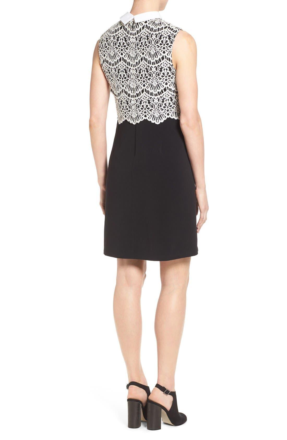 Alternate Image 2  - Halogen® Collared Lace Sheath Dress (Regular & Petite)