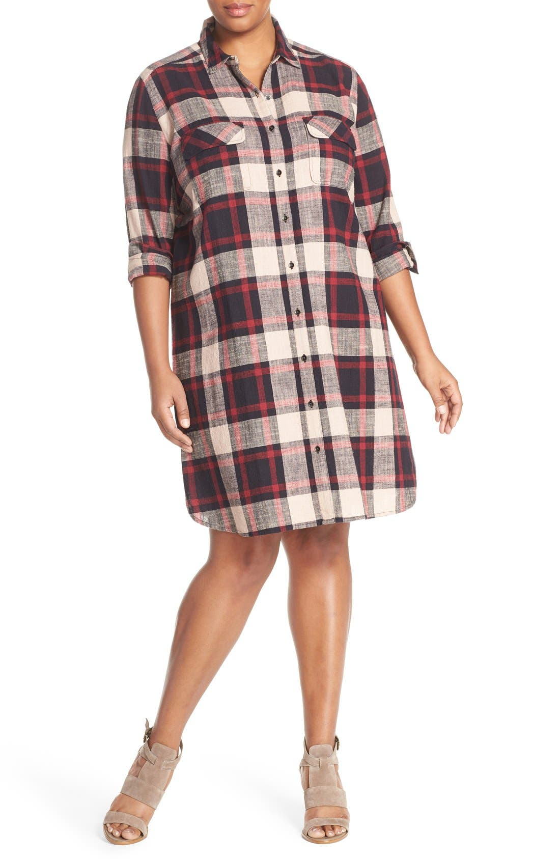 Alternate Image 4  - Caslon® Two-Pocket Plaid Shirtdress (Plus Size)
