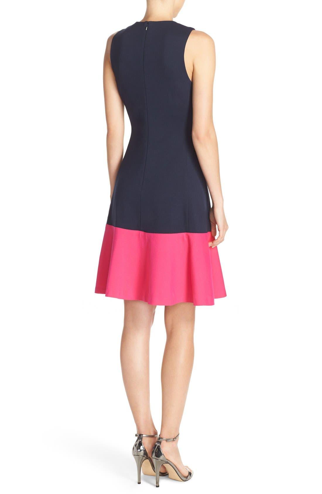 Alternate Image 2  - Eliza J Colorblock Hem Fit & Flare Dress (Regular & Petite)