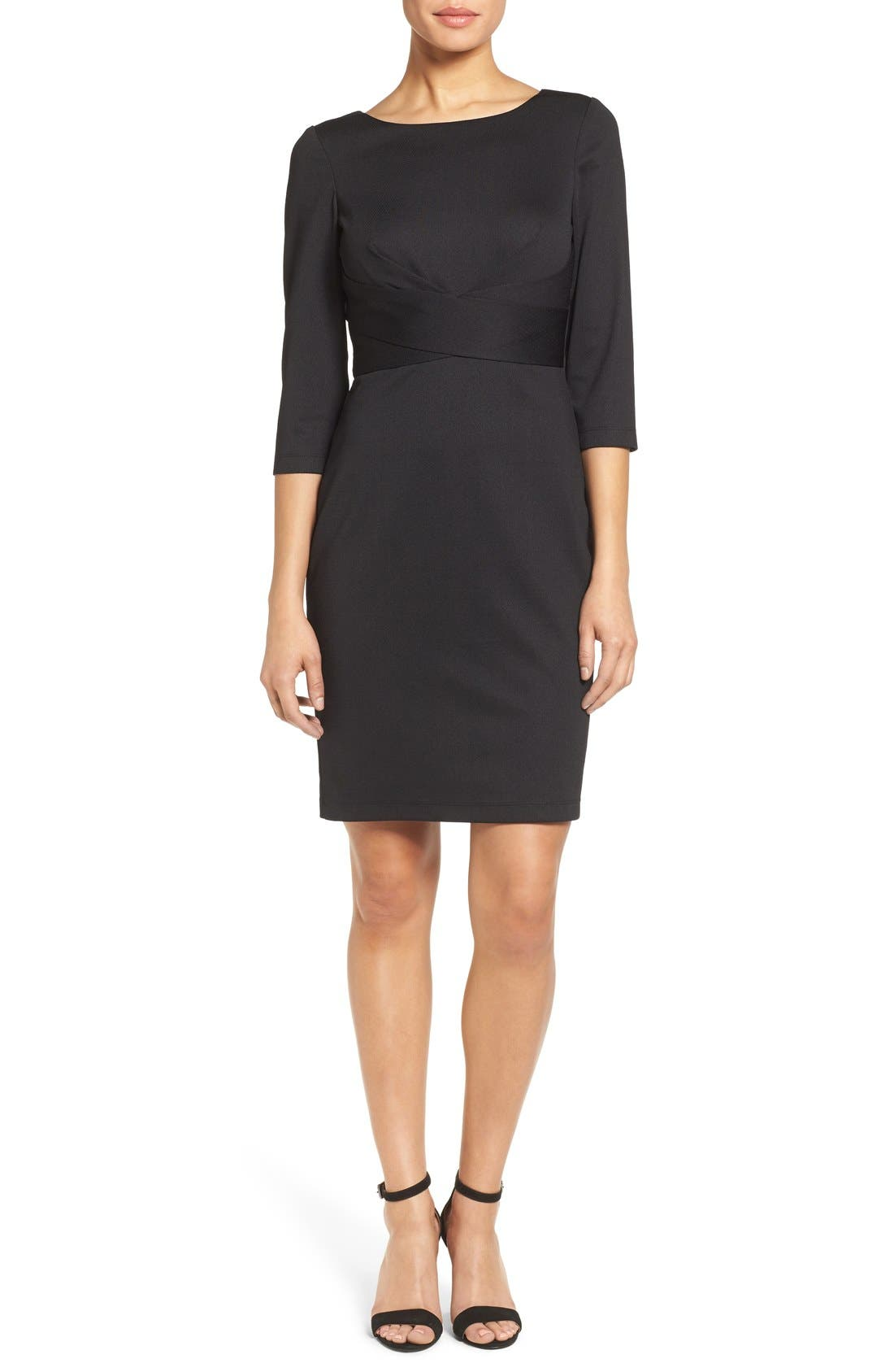 Donna Ricco Textured Wrap Waist Sheath Dress