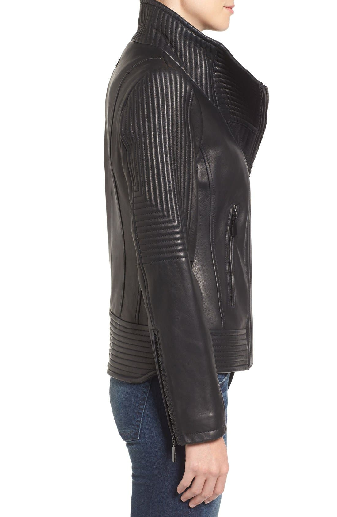 Alternate Image 3  - Vince Camuto Trapunto Leather Jacket
