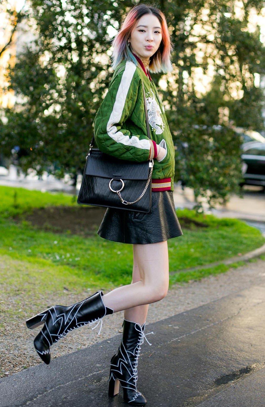 Alternate Image 8  - Chloé 'Medium Faye' Diamond Embossed Leather Shoulder Bag
