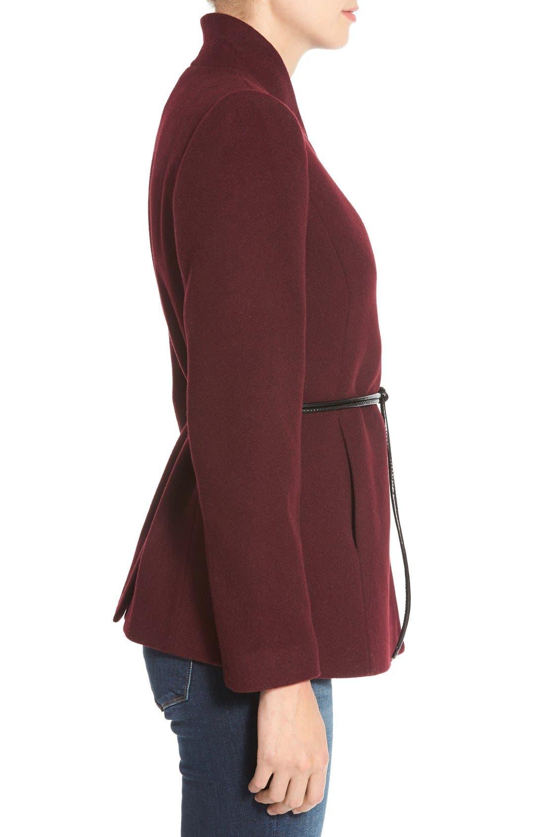 Alternate Image 3  - Halogen® Belted Short Wool Blend Coat (Regular & Petite)
