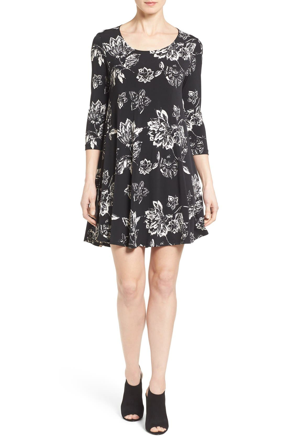 Alternate Image 1 Selected - Karen Kane 'Maggie' Floral Print Trapeze Dress