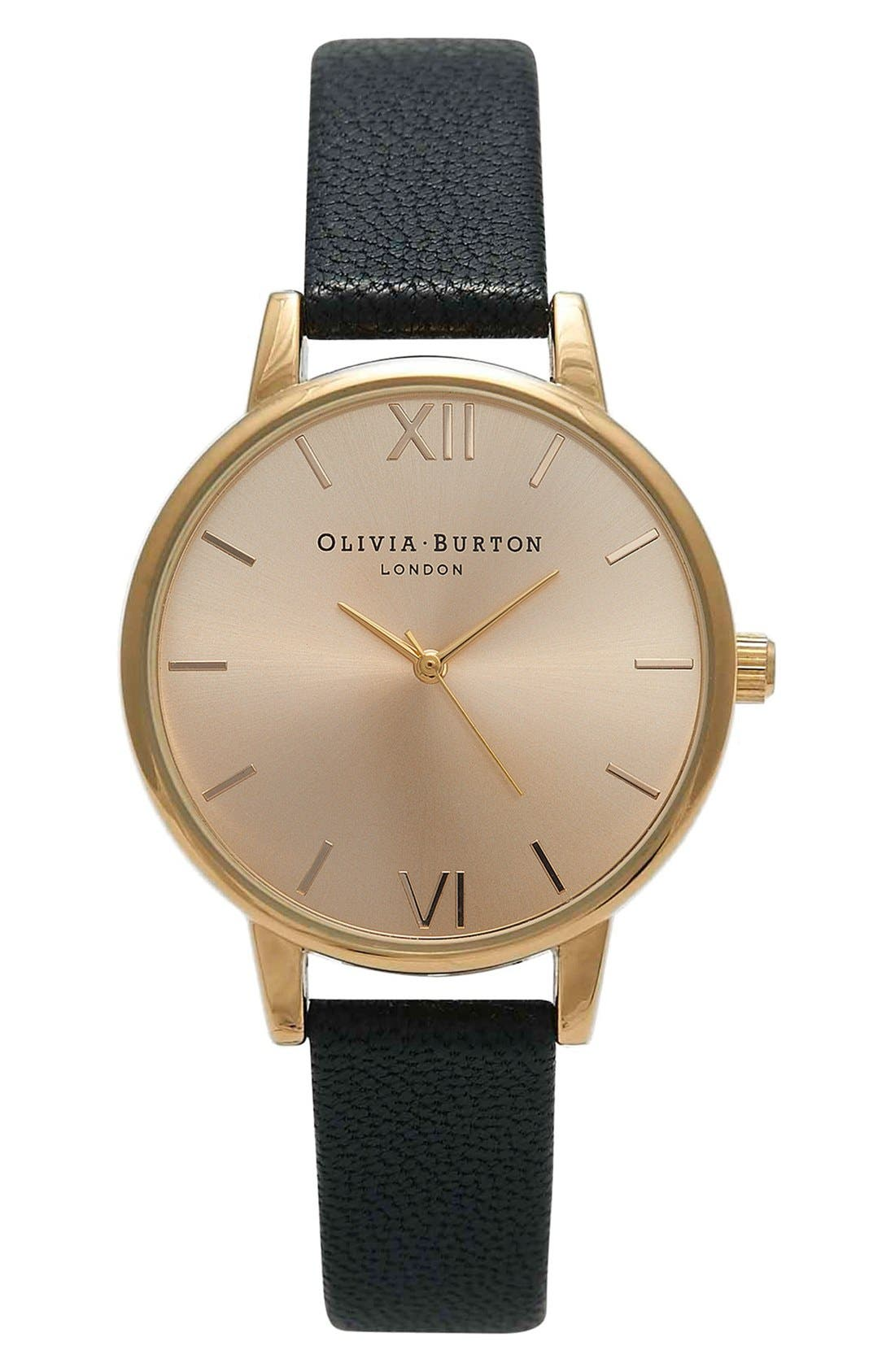 Main Image - Olivia Burton 'Midi Dial' Leather Strap Watch, 30mm