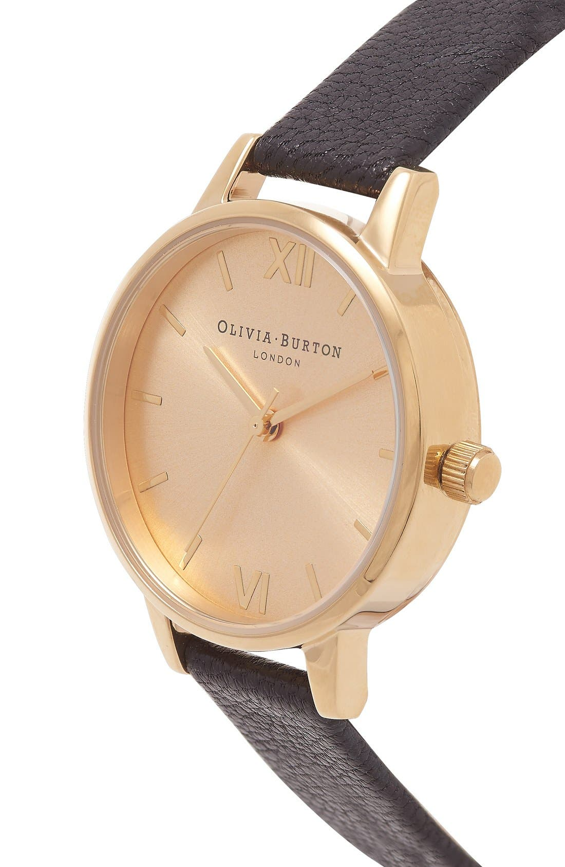 Alternate Image 2  - Olivia Burton 'Midi Dial' Leather Strap Watch, 30mm