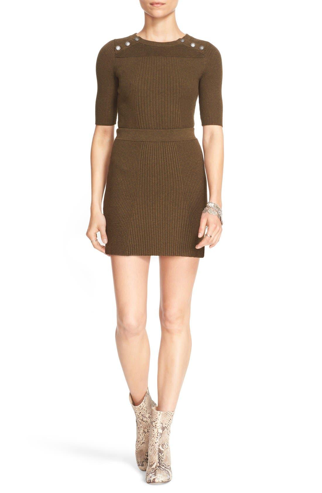 Alternate Image 1 Selected - Free People 'Little Minx' Cotton Sweater & Miniskirt