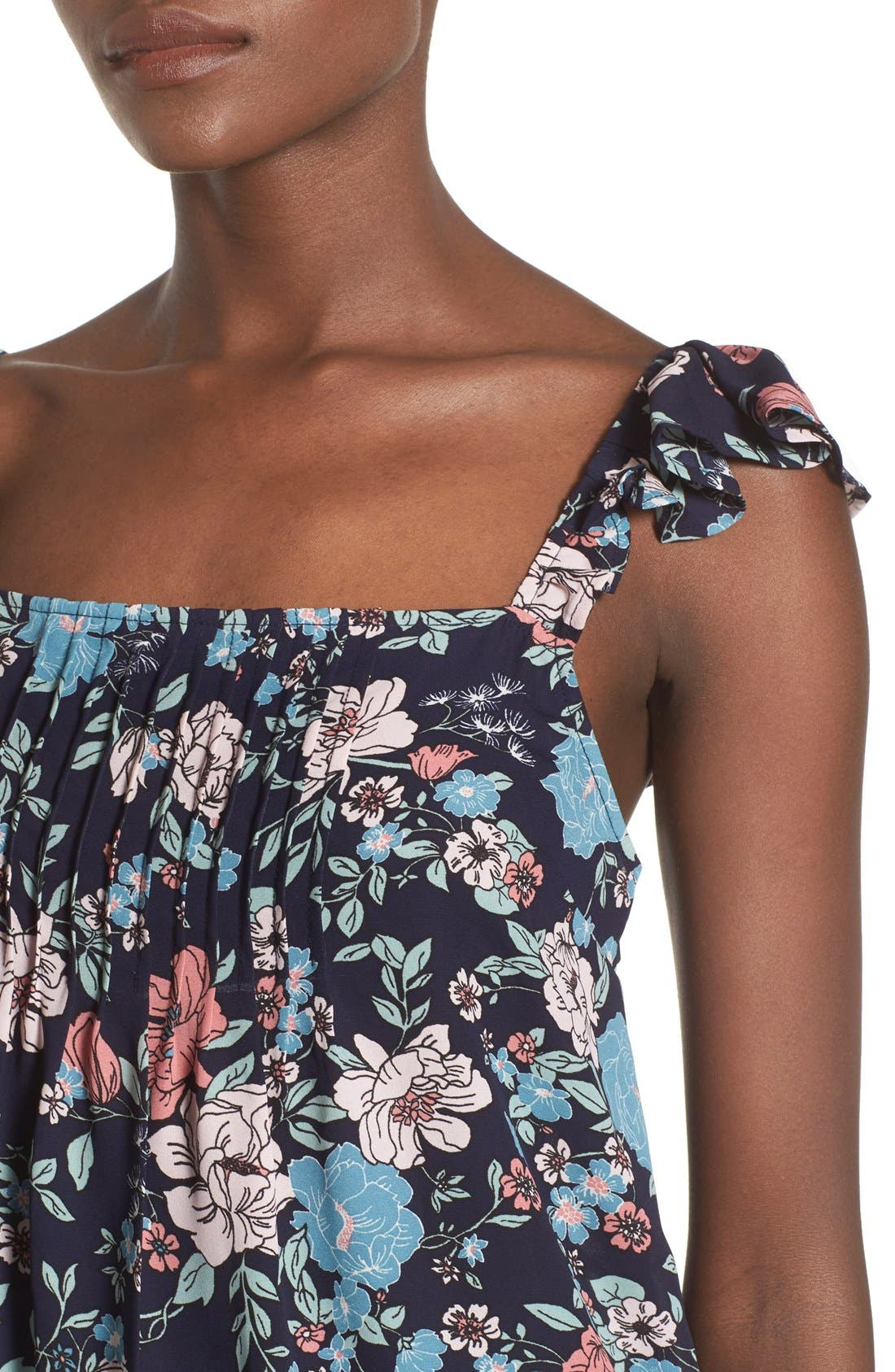 Alternate Image 5  - Leith Floral Print Pintuck Tank