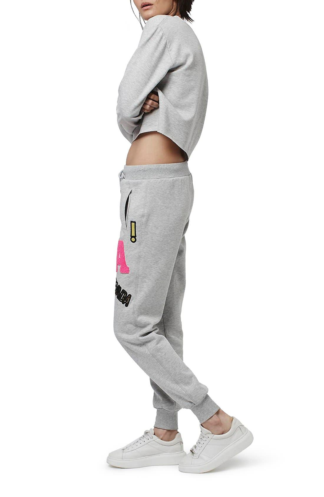 Alternate Image 2  - Topshop Badged Jogger Pants (Regular & Petite)