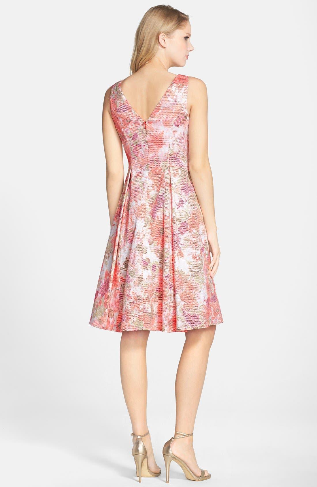 Alternate Image 2  - Adrianna Papell Jacquard V-Neck Fit & Flare Dress