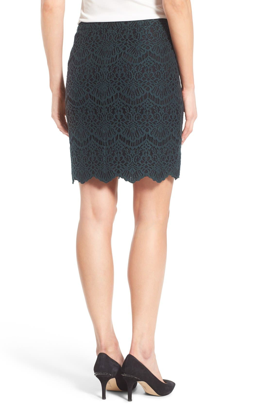 Alternate Image 2  - Halogen® Scallop Edge Lace Skirt (Regular & Petite)