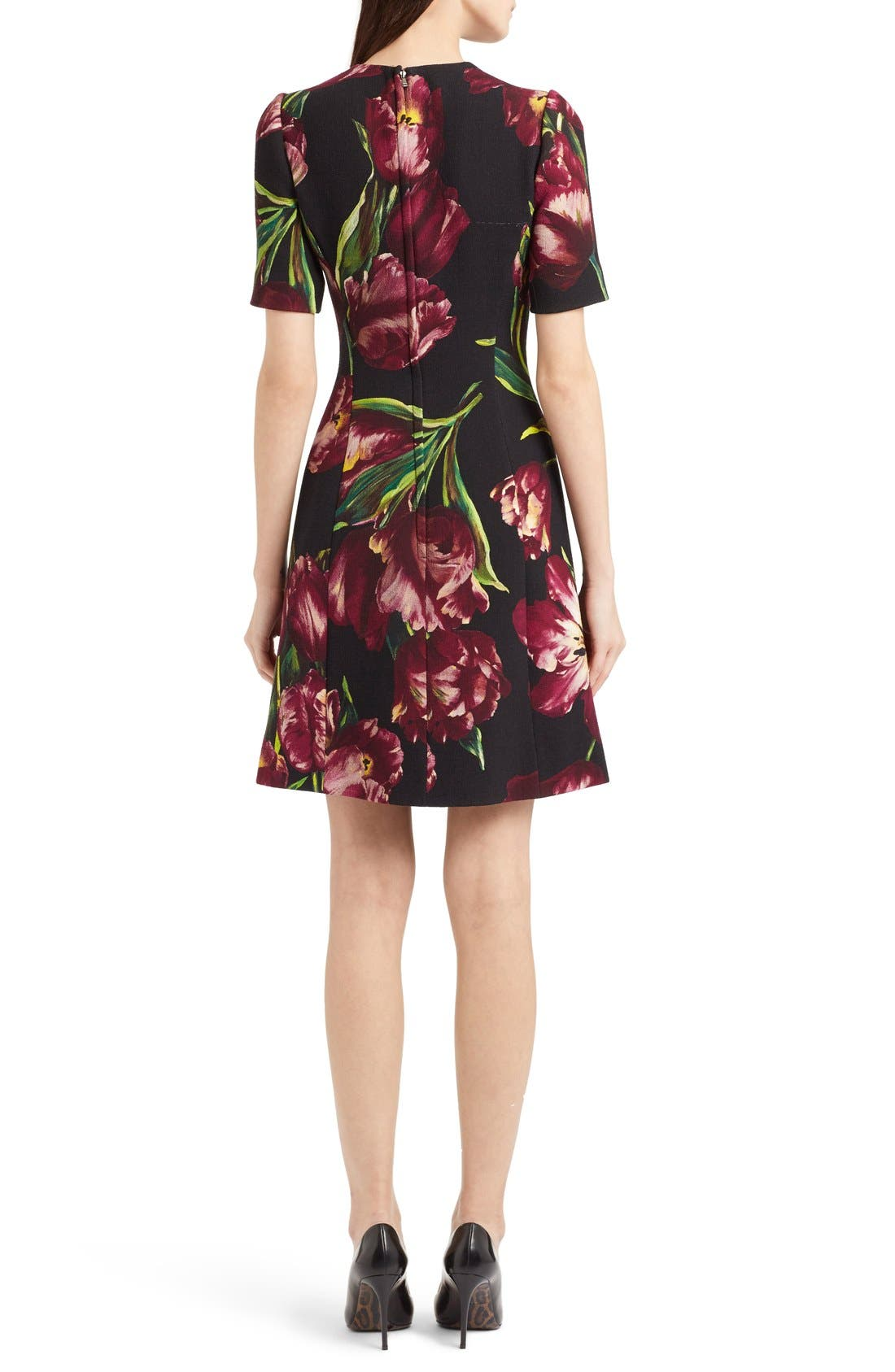 Alternate Image 2  - Dolce&Gabbana Tulip Print Wool A-Line Dress