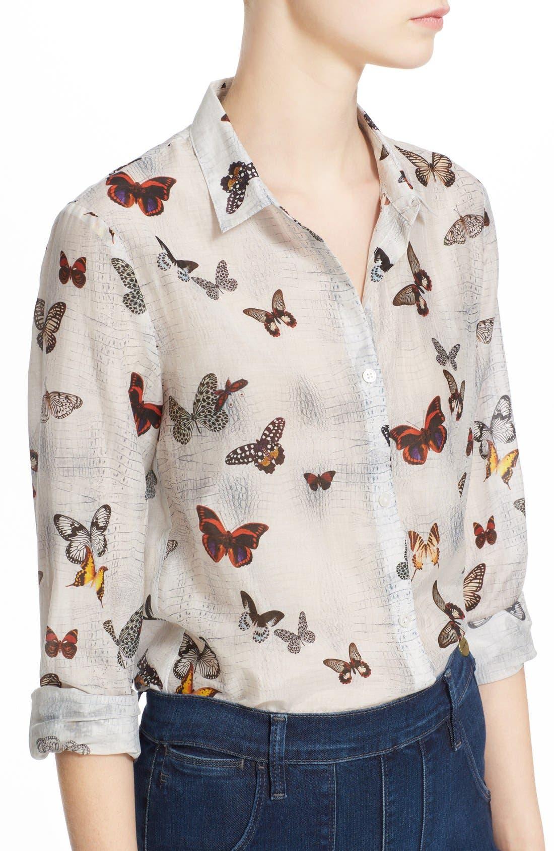 Alternate Image 4  - The Kooples Butterfly Print Cotton & Silk Shirt