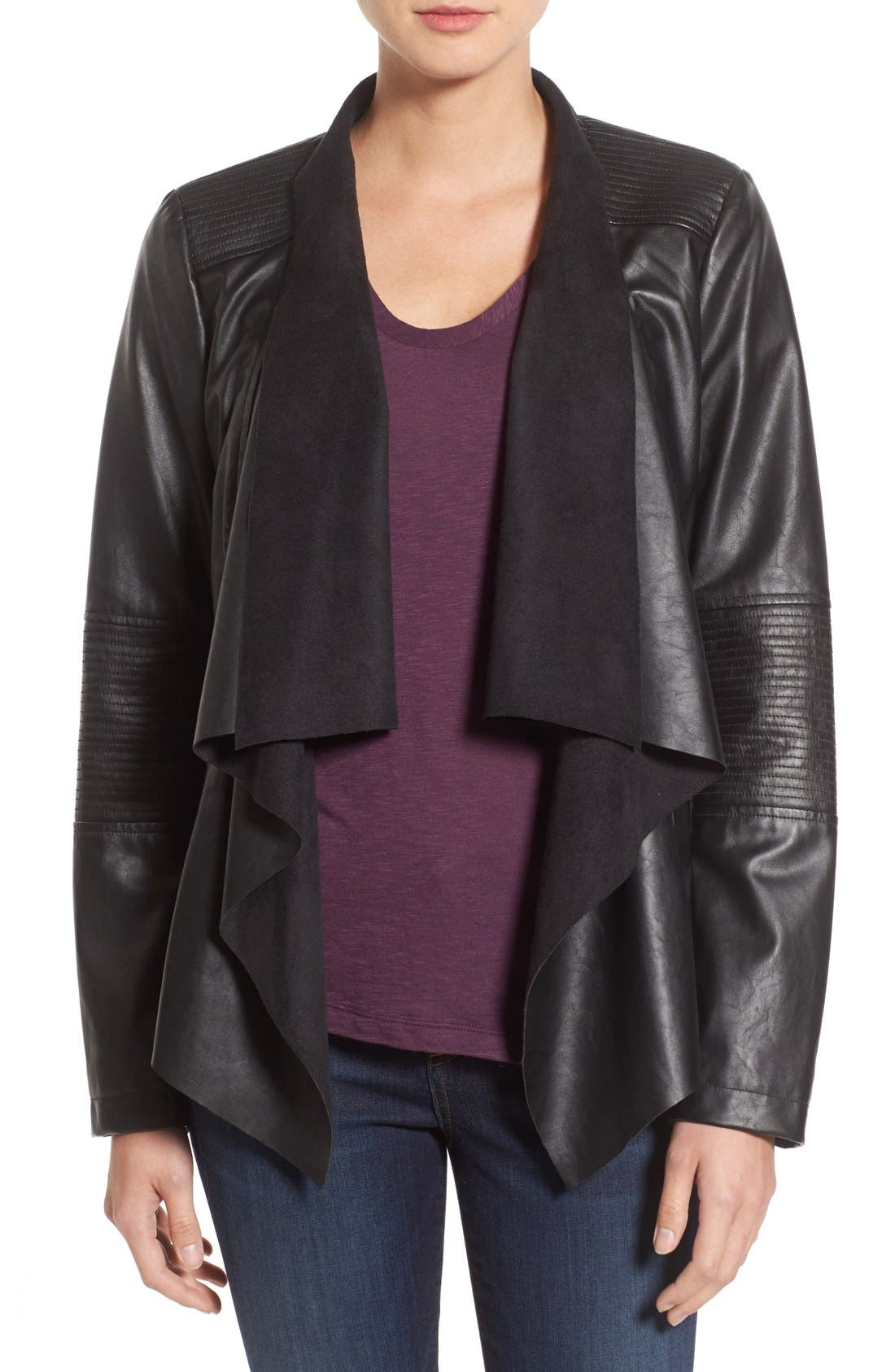Alternate Image 1 Selected - Levi's® Drape Front Faux Leather Jacket