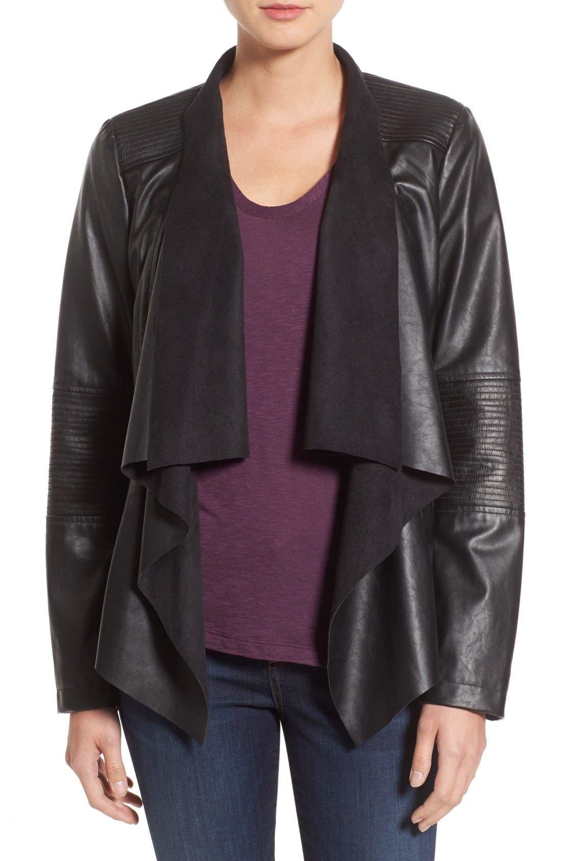 Main Image - Levi's® Drape Front Faux Leather Jacket