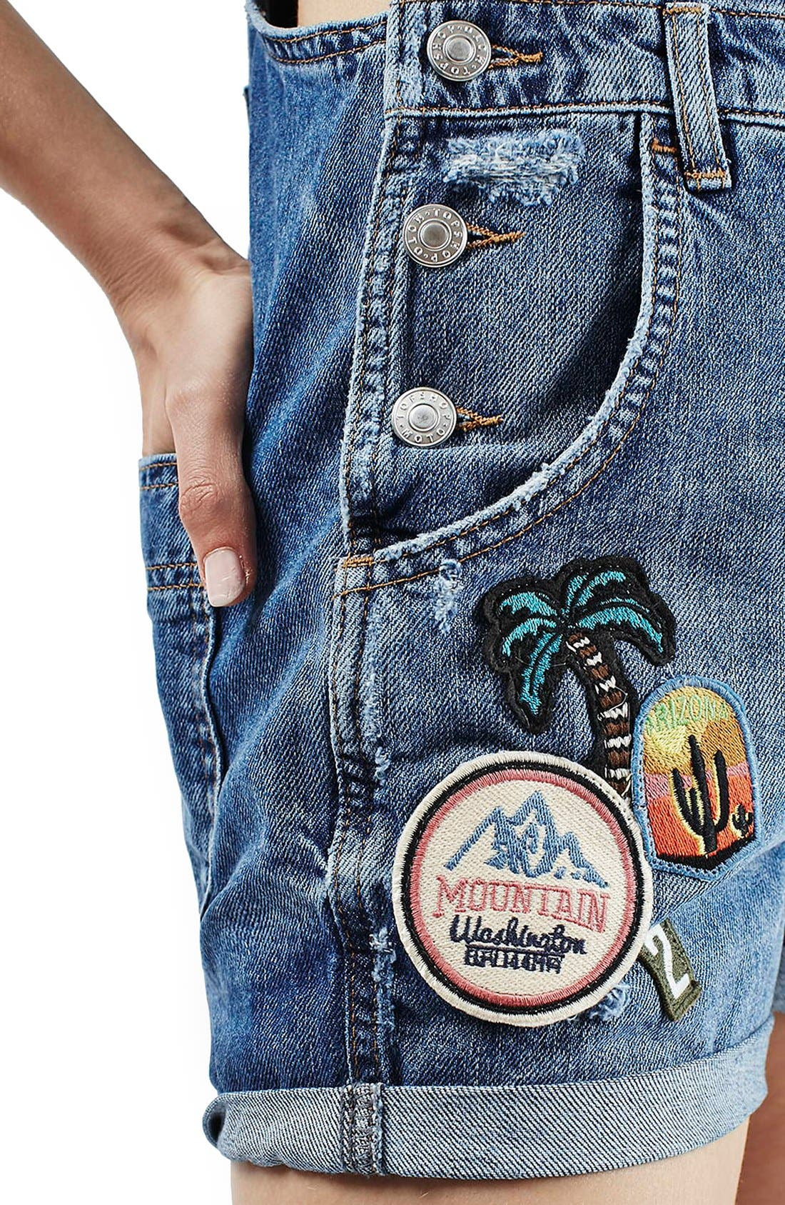 Alternate Image 6  - Topshop Badge Short Overalls (Petite)