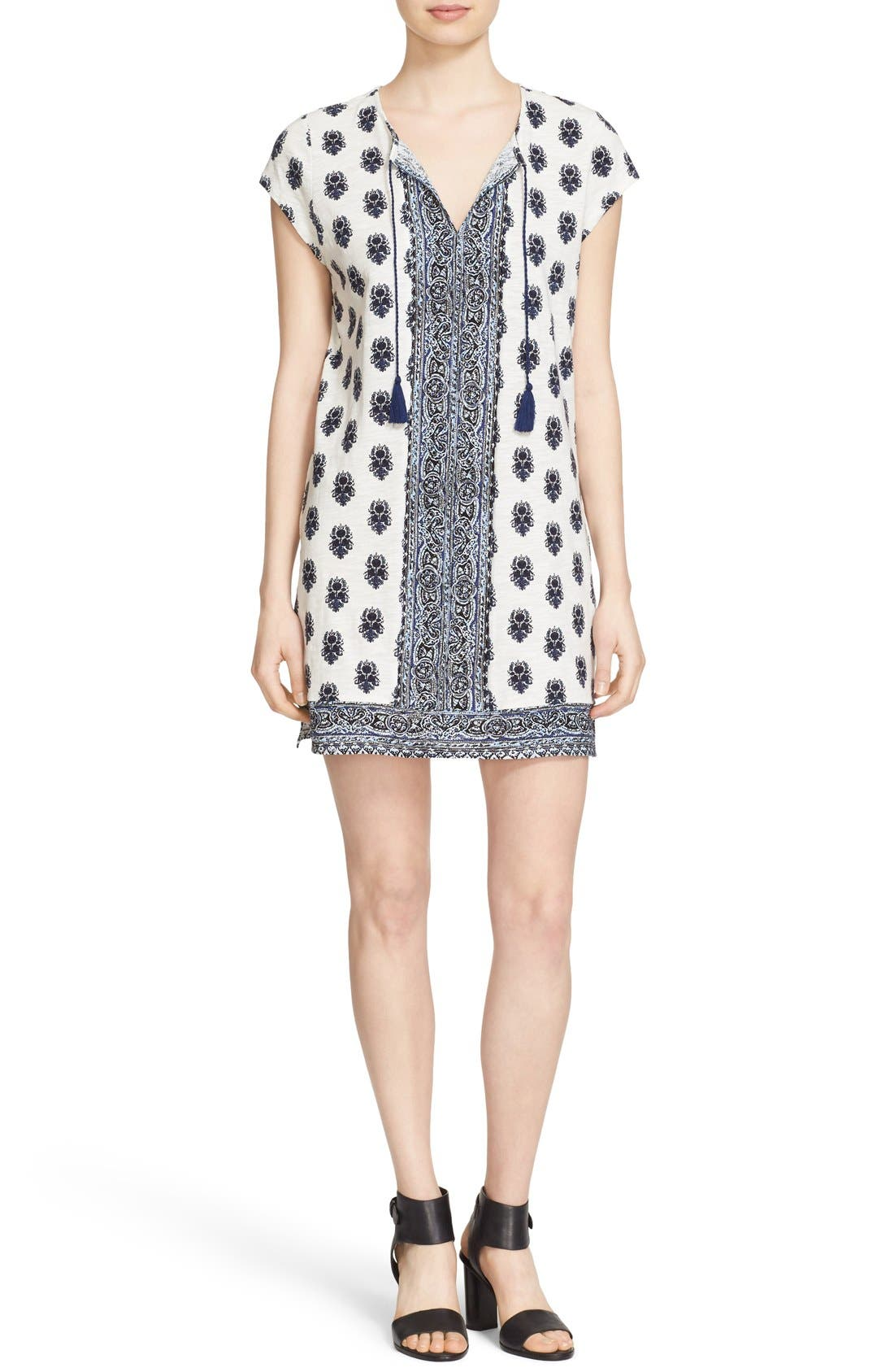 Main Image - Soft Joie 'Gadhi' Border Print Split Neck Shift Dress