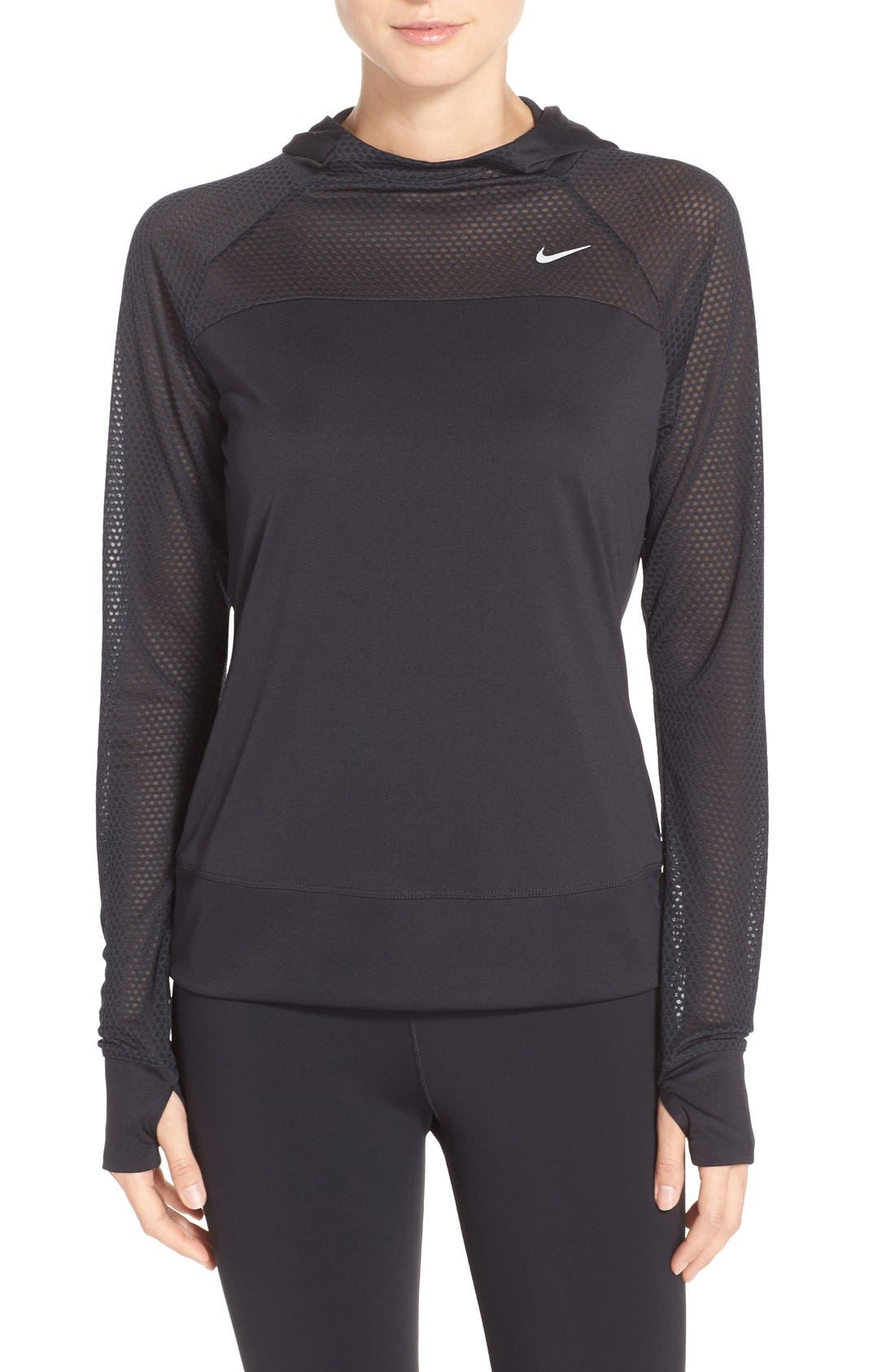 Alternate Image 1 Selected - Nike 'Run Fast' Hooded Dri-FIT Pullover