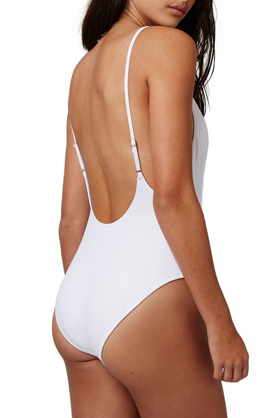 Alternate Image 2  - Topshop Chain Shoulders One-Piece Swimsuit