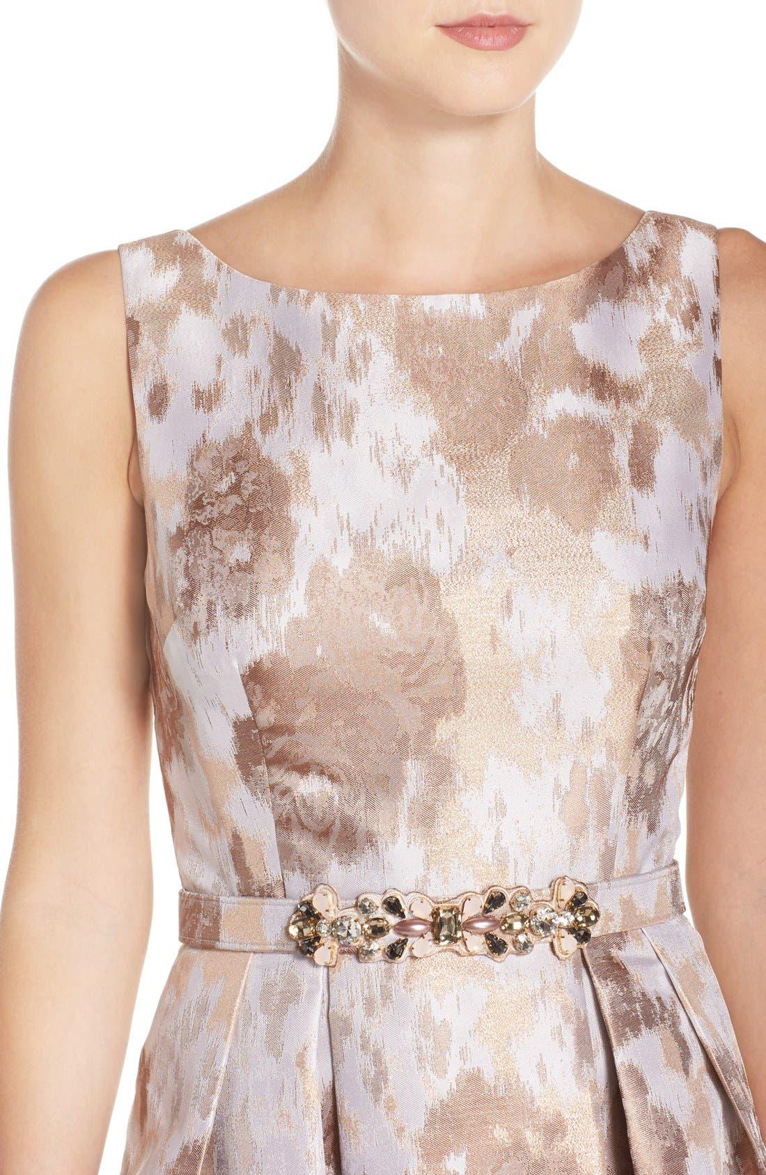 Alternate Image 4  - Eliza J Belted Jacquard Fit & Flare Dress
