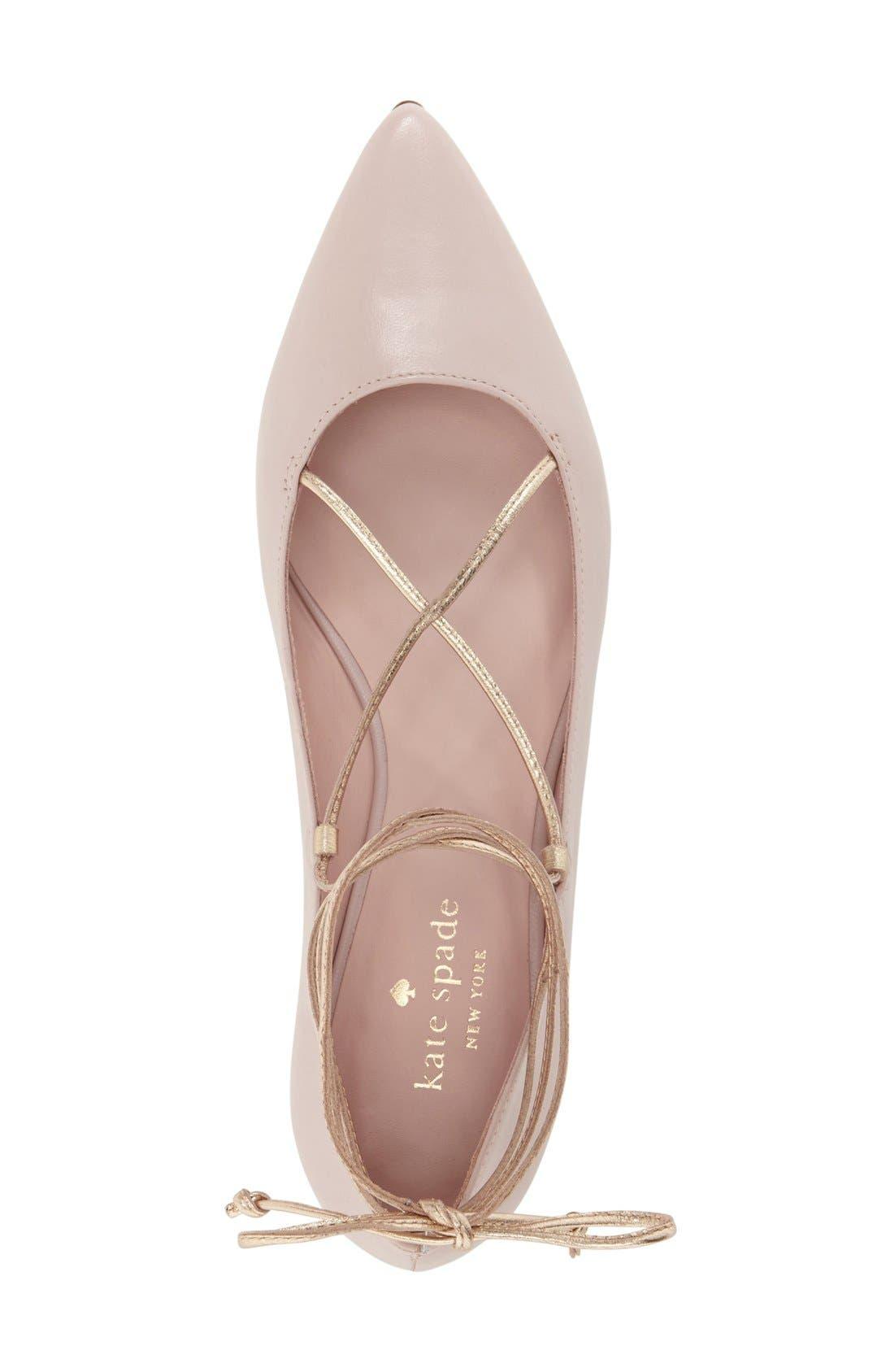 Alternate Image 3  - kate spade new york 'genie' pointy toe lace up flat (Women)