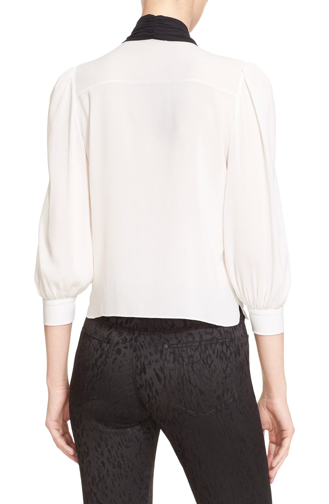 Alternate Image 3  - Alice + Olivia 'Treena' Contrast Bow Stretch Silk Blouse