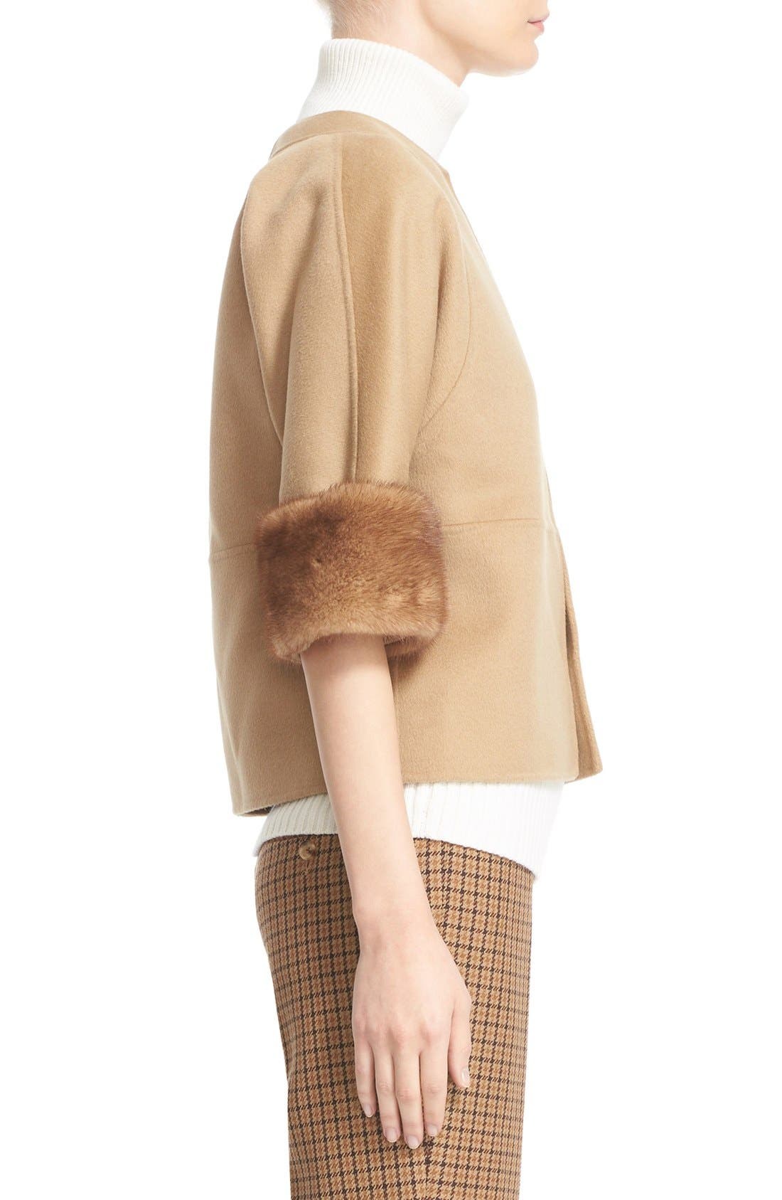 Alternate Image 6  - Michael Kors Genuine Mink Fur Cuff Wool Blend Jacket