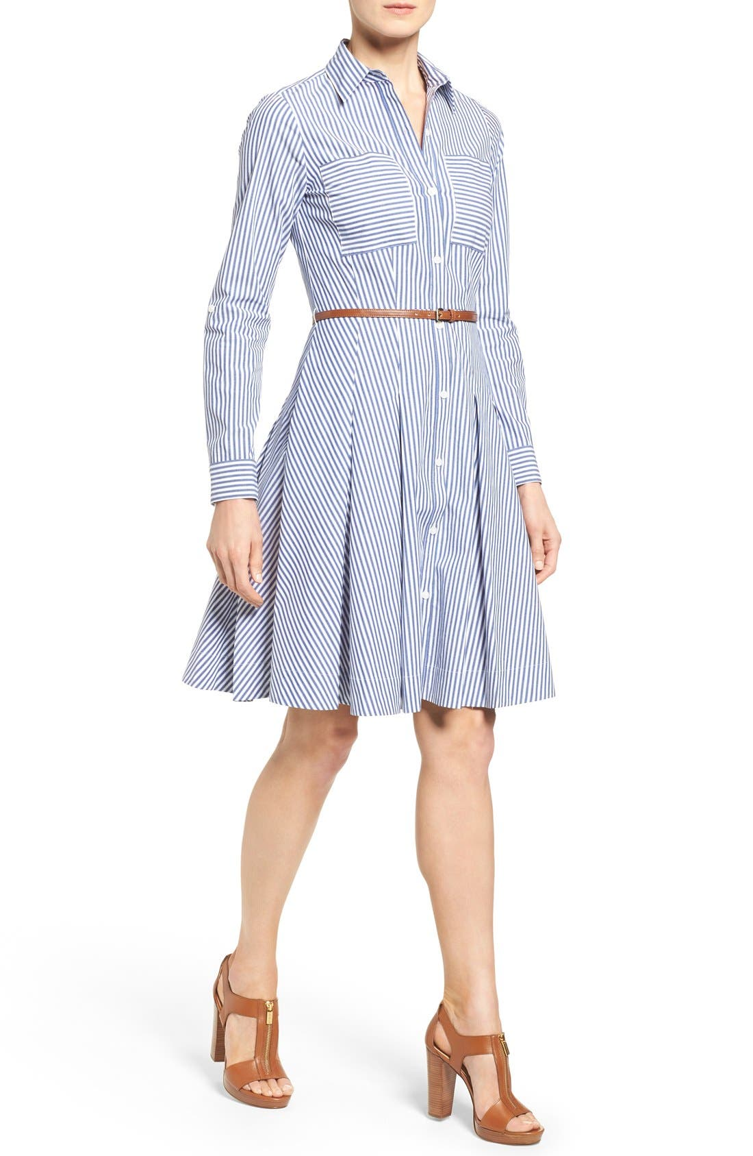 Alternate Image 1 Selected - MICHAEL Michael Kors Belted Stripe Stretch Cotton Shirtdress
