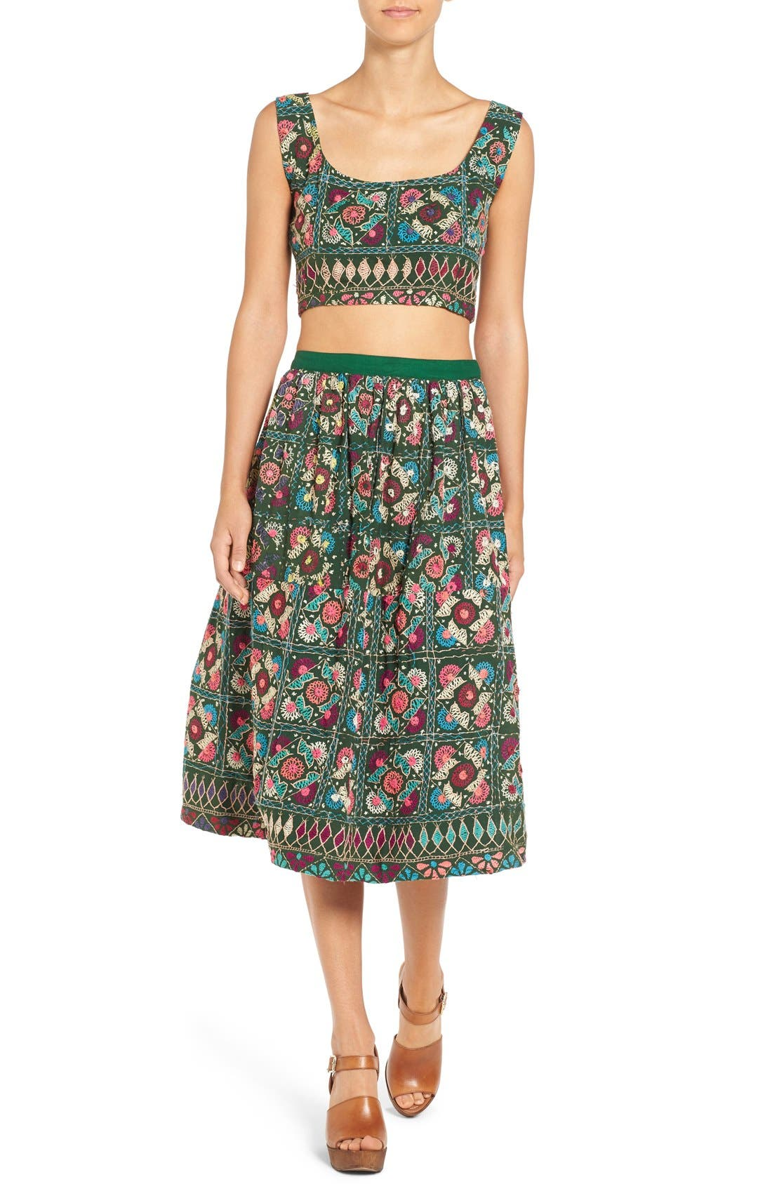 Alternate Image 3  - All Things Mochi Jaipur Print Crop Top & Midi Skirt Set