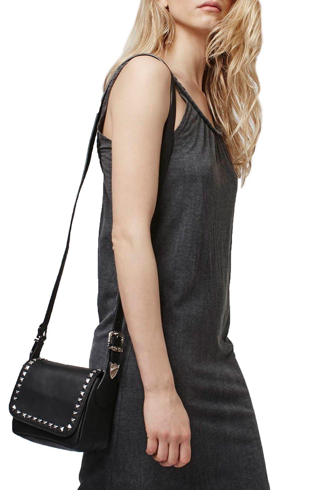 Alternate Image 2  - Topshop 'Rodeo' Studded Leather Crossbody Bag
