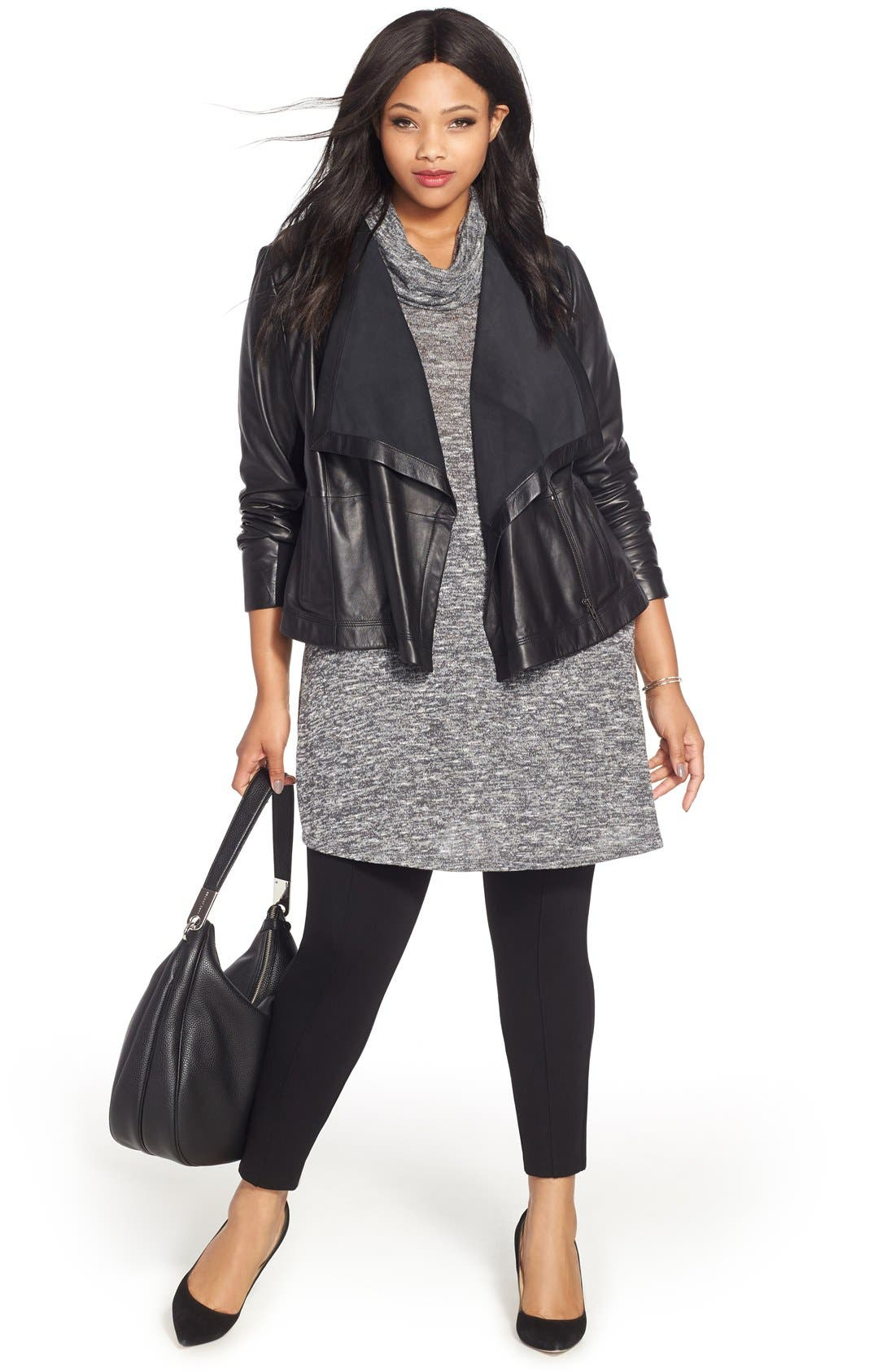 Alternate Image 2  - Sejour Drape Collar Leather Jacket (Plus Size)