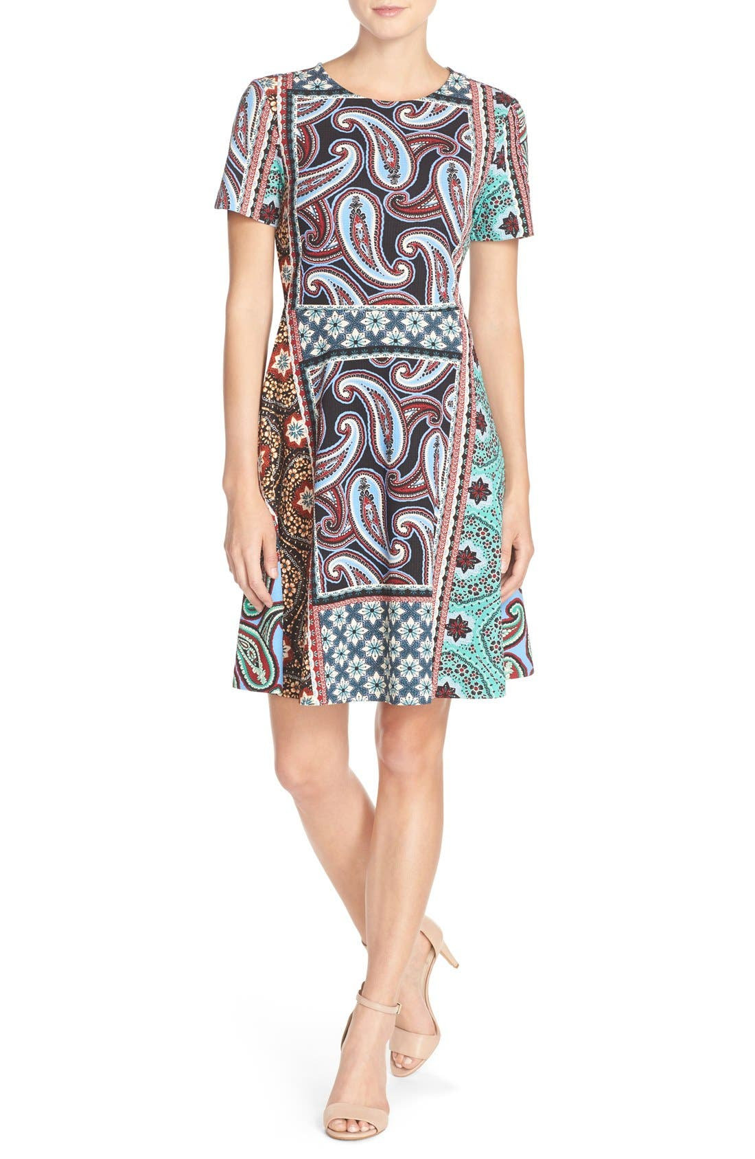 ECI Print Stretch Fit & Flare Dress