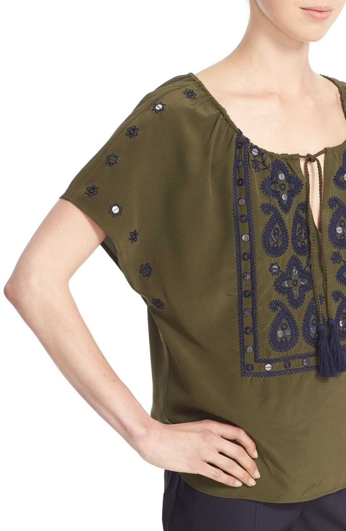 Alternate Image 4  - Tory Burch 'Camille' Embellished Silk Peasant Top