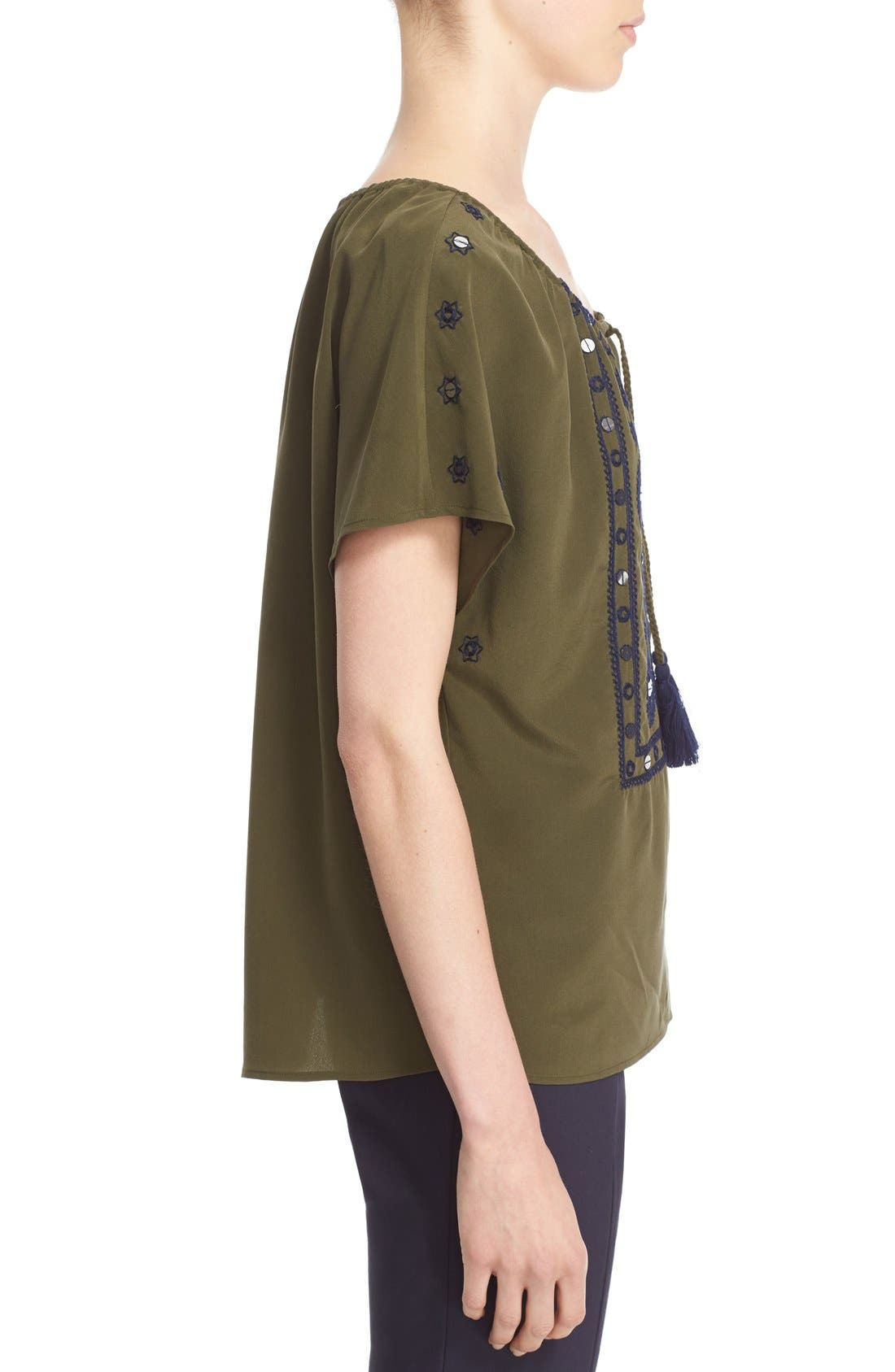 Alternate Image 3  - Tory Burch 'Camille' Embellished Silk Peasant Top