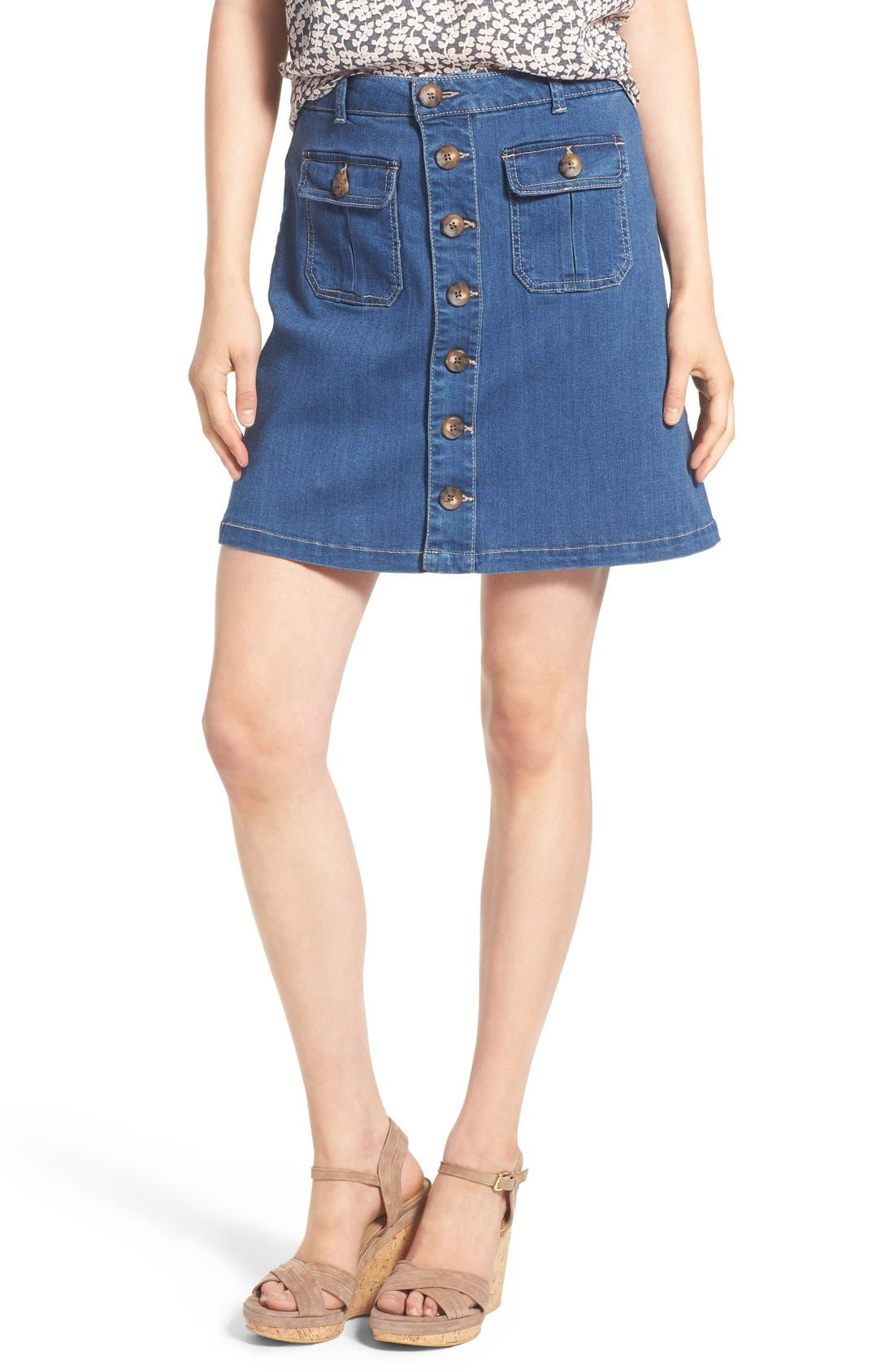 Alternate Image 1 Selected - Wit & Wisdom Button Front Denim Skirt (Nordstrom Exclusive)
