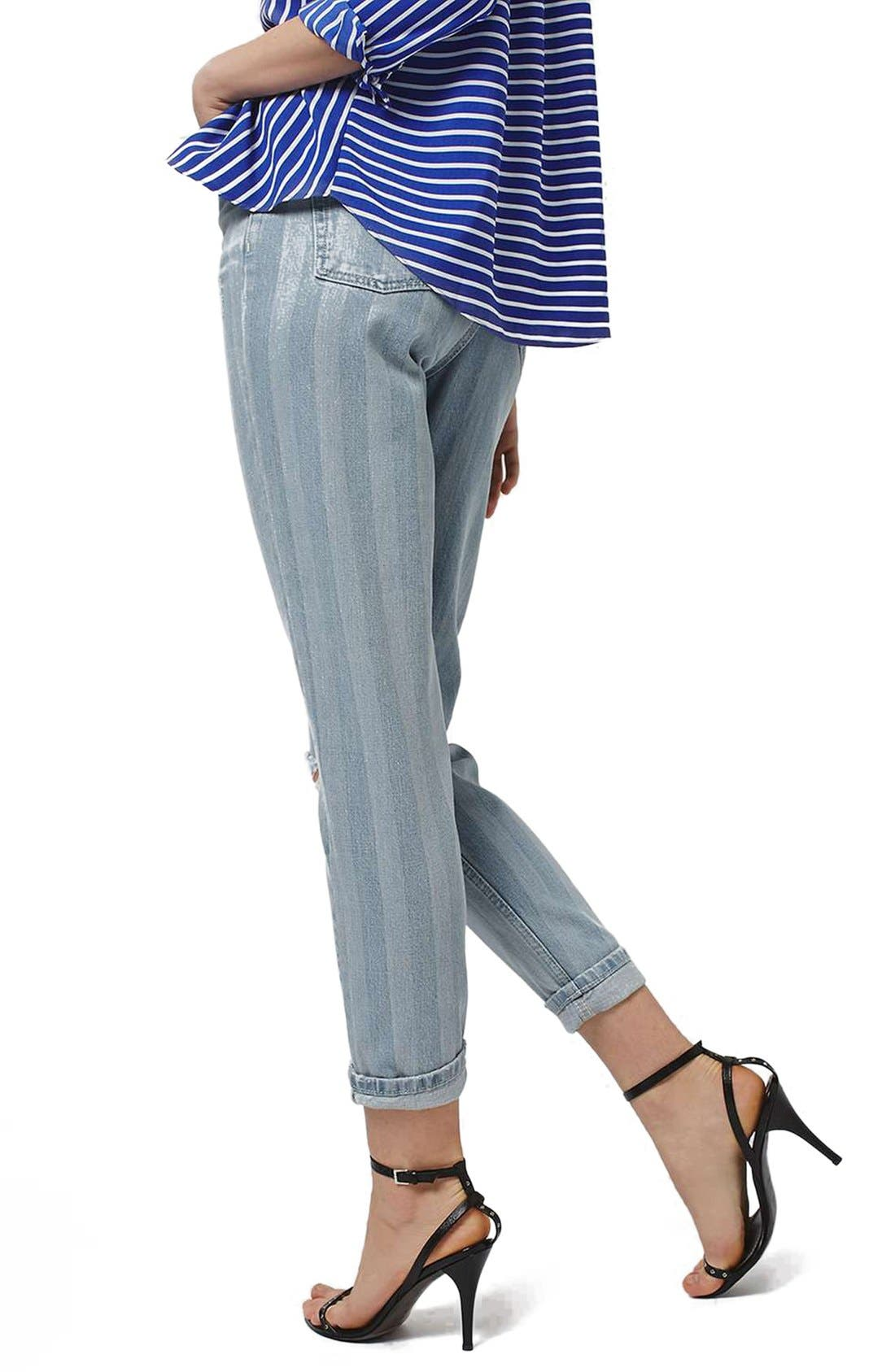 Alternate Image 3  - Topshop Ripped Stripe Mom Jeans