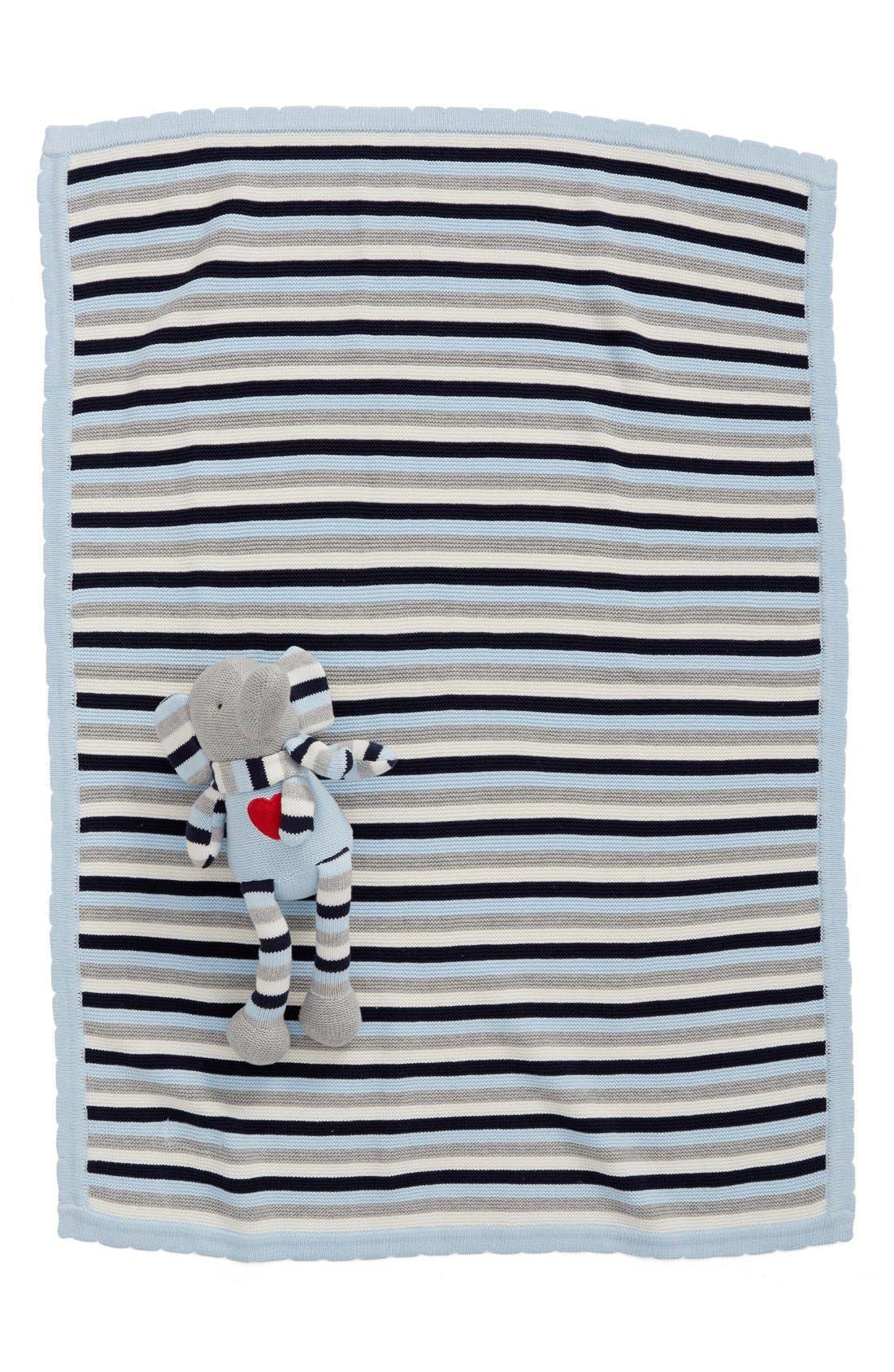 Alternate Image 2  - Elegant Baby 'Knitty Bitty' Plush Knit Elephant Toy & Blanket