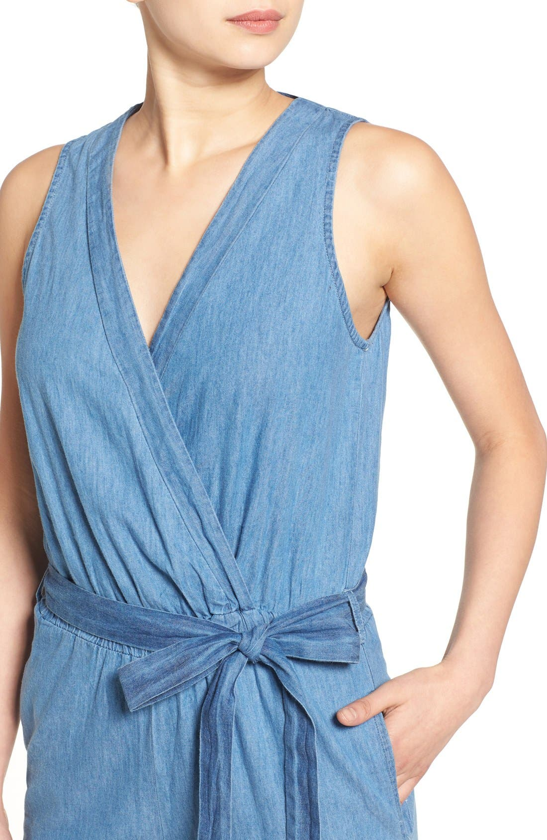 Alternate Image 4  - Mimi Chica Surplice Chambray Jumpsuit