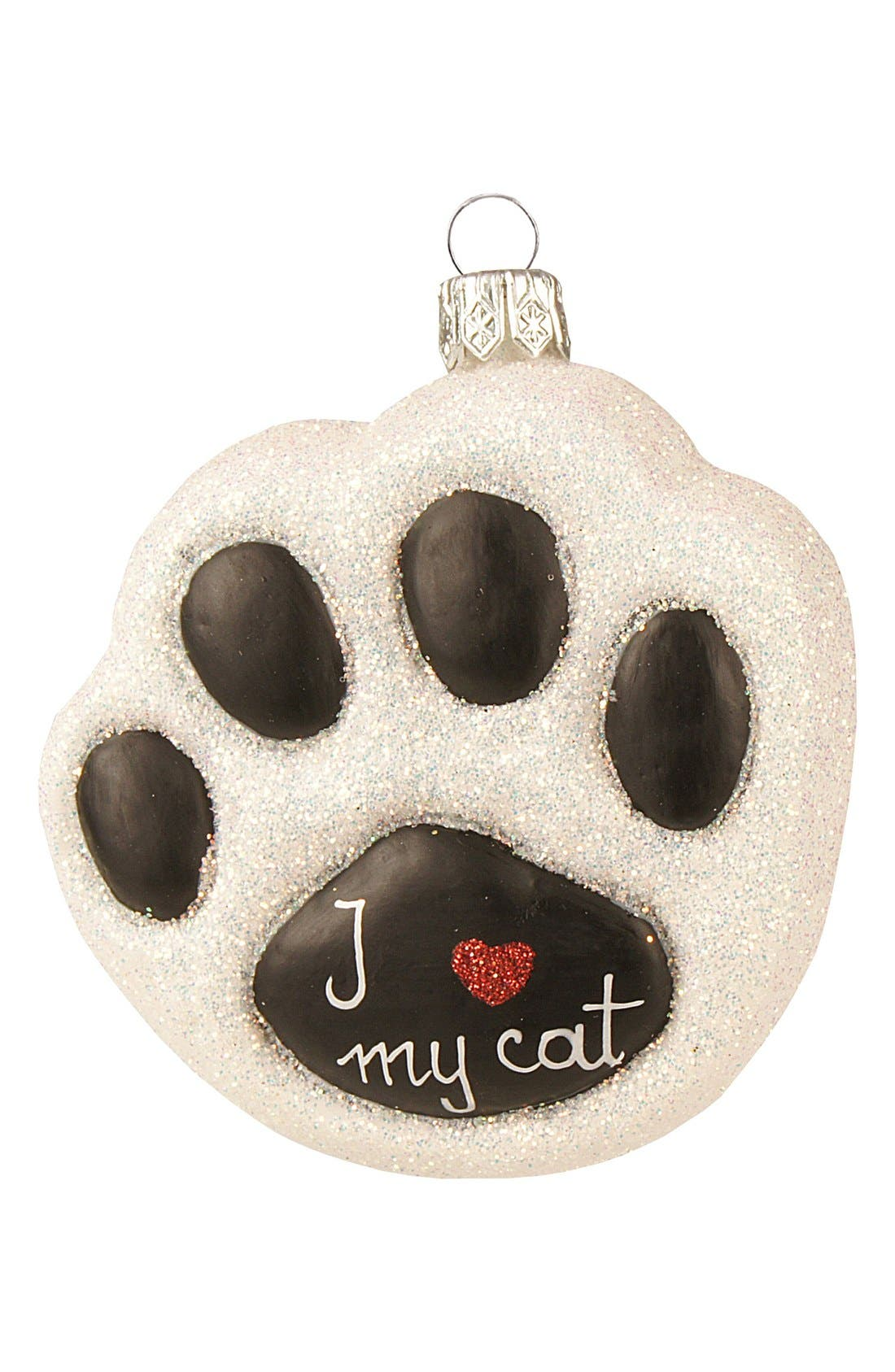 Alternate Image 1 Selected - Nordstrom at Home 'I Love My Cat' Handblown Glass Paw Ornament