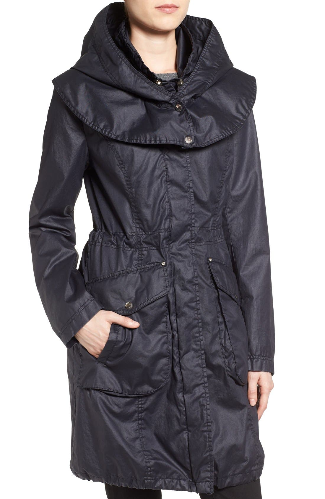 Alternate Image 4  - Laundry by Shelli Segal Double Collar Hooded Waxed Cotton Anorak (Regular & Petite)