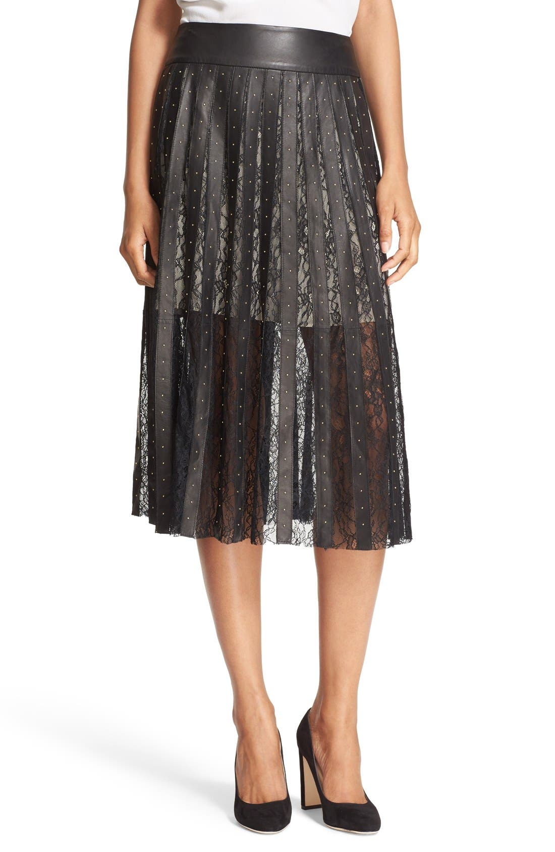 ALICE + OLIVIA 'Tianna' Leather & Lace Stripe