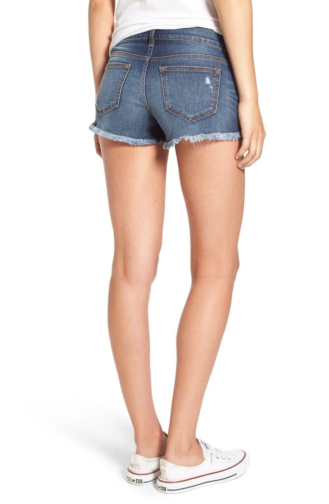 Alternate Image 2  - SP Black Plaid Pocket Cutoff Denim Shorts